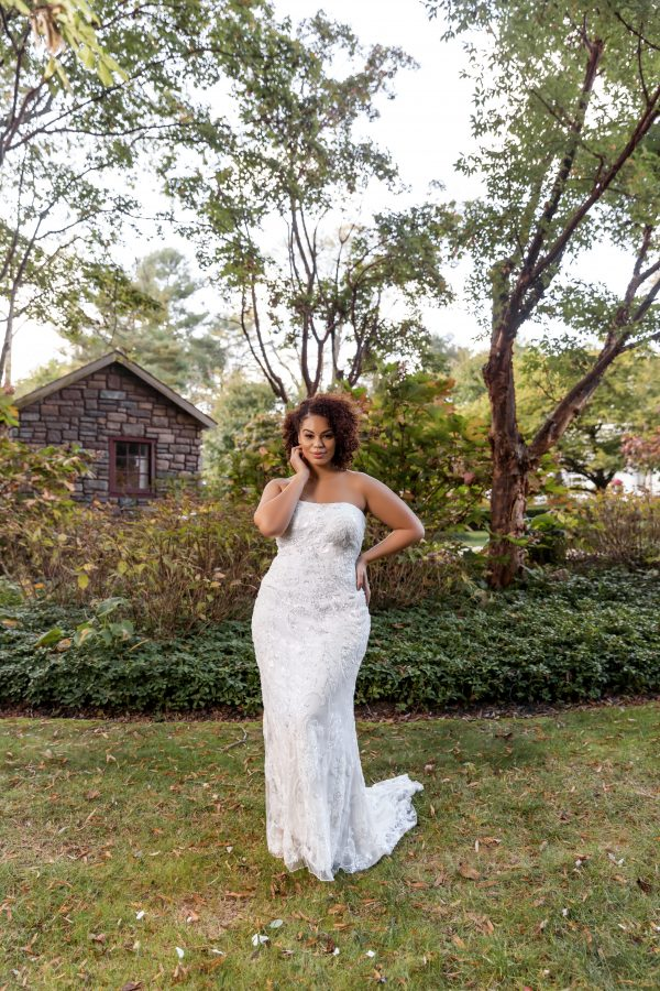 Strapless Beaded Sheath Wedding Dress With Overskirt by Danielle Caprese - Image 1