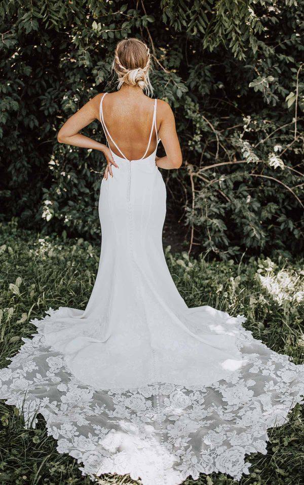 Clean Sheath Wedding Dress With Organic Train by Essense of Australia - Image 2