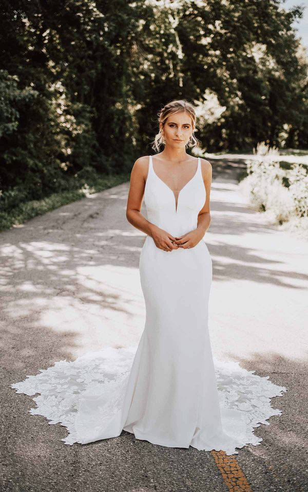Clean Sheath Wedding Dress With Organic Train by Essense of Australia - Image 1