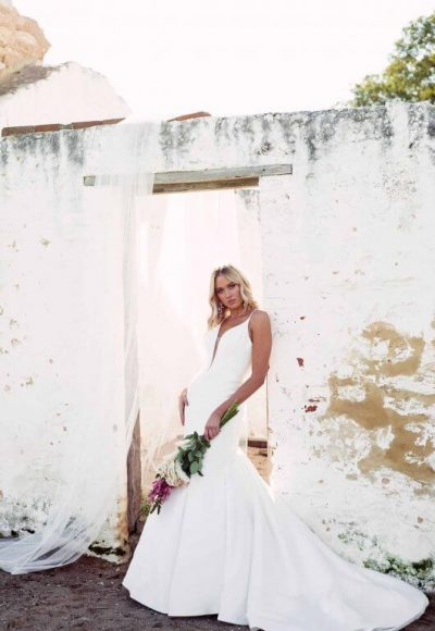 Fit And Flare Wedding Dress In Mikado by Essense of Australia