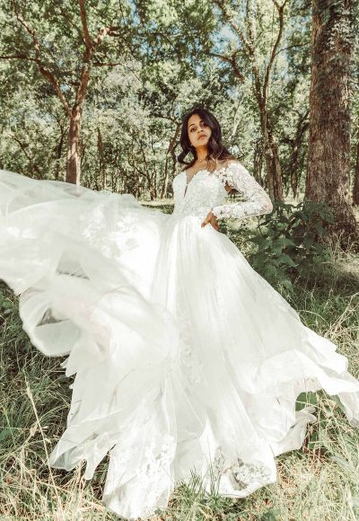 Off The Shoulder Lace Ballgown Wedding Dress With Tiered Skirt by Essense of Australia