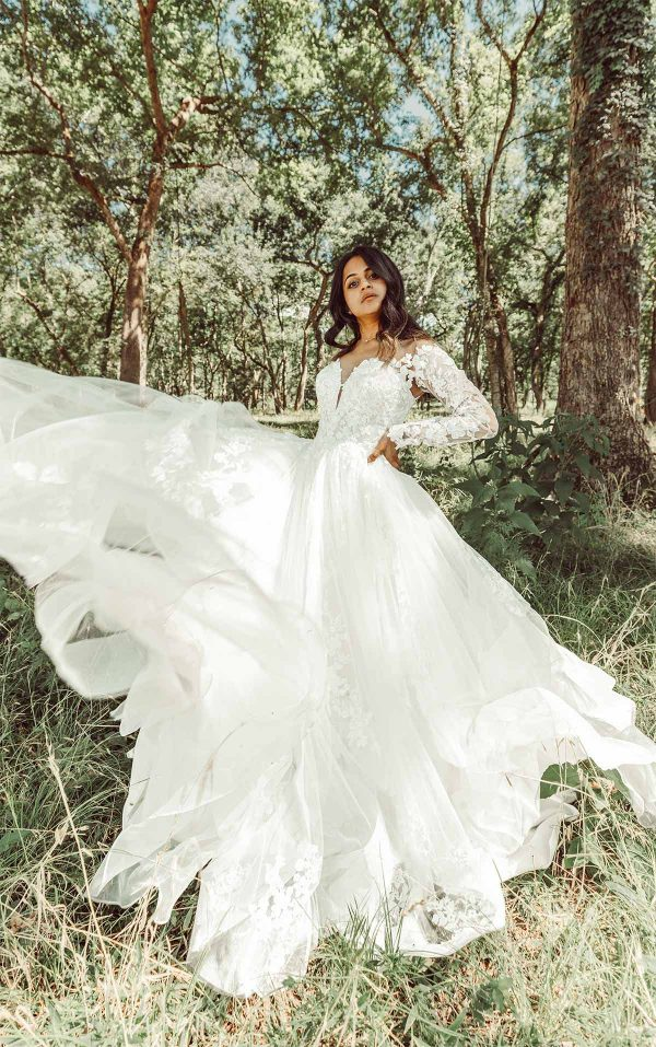 Off The Shoulder Lace Ballgown Wedding Dress With Tiered Skirt by Essense of Australia - Image 1