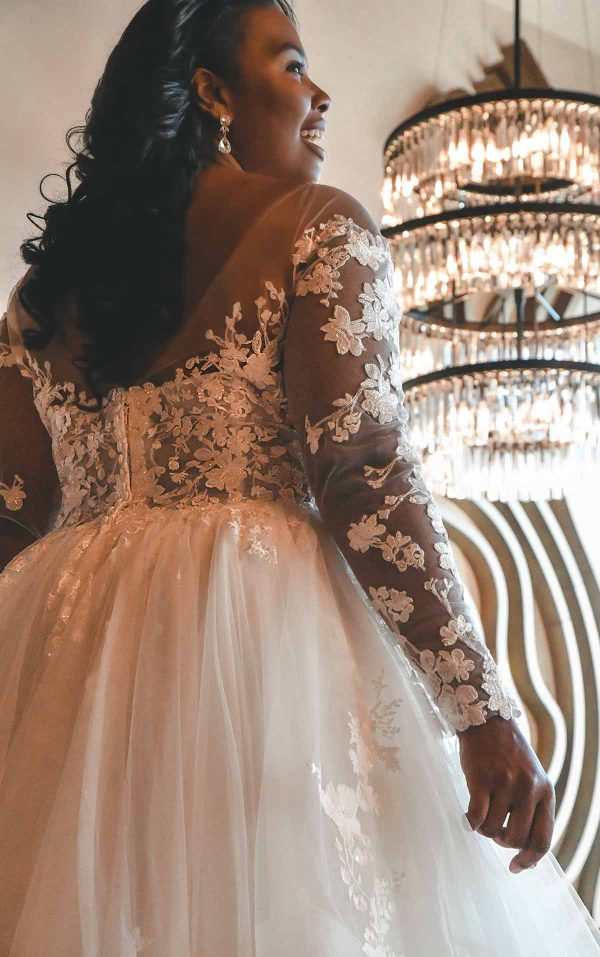 Off The Shoulder Lace Plus Size Ballgown Wedding Dress With Tiered Skirt by Essense of Australia - Image 2