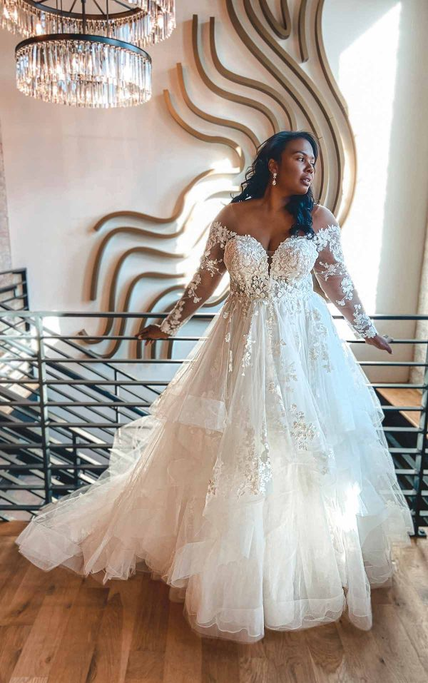 Off The Shoulder Lace Plus Size Ballgown Wedding Dress With Tiered Skirt by Essense of Australia - Image 1