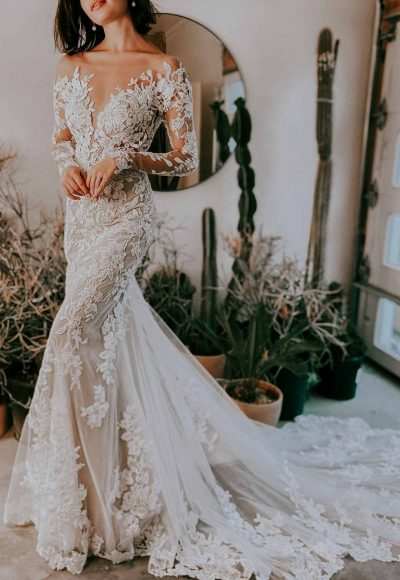 Sheer Floral Lace Wedding Dress With Long Sleeves by Essense of Australia