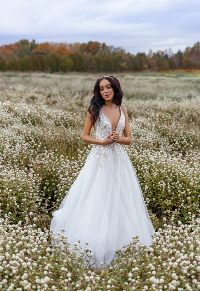 Sleeveless V-neckline Embroidered A-line Wedding Dress by Hayley Paige