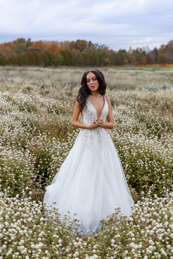 Sleeveless V-neckline Embroidered A-line Wedding Dress by Hayley Paige - Image 1