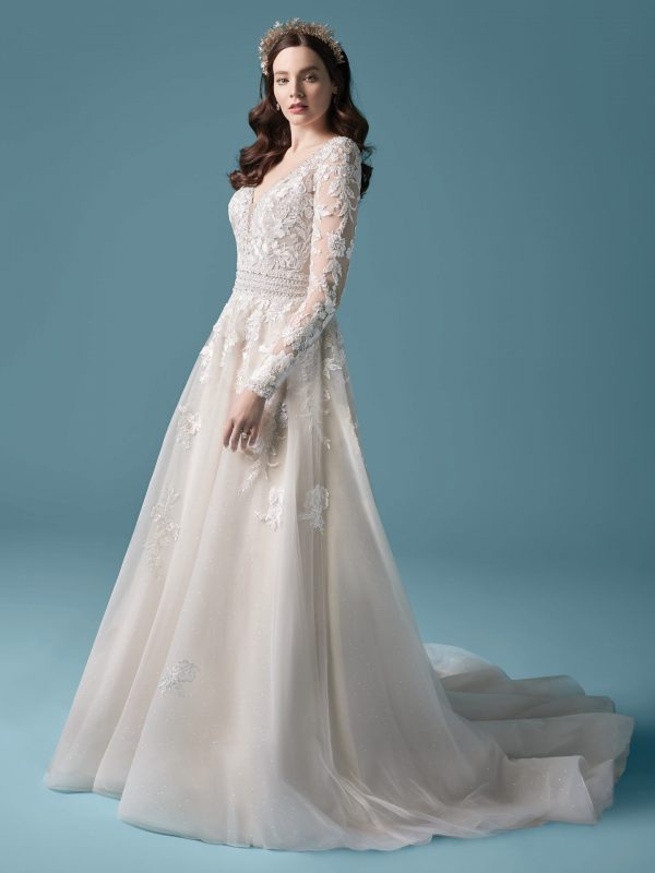 Illusion Sleeve A-line Wedding Dress by Maggie Sottero - Image 1