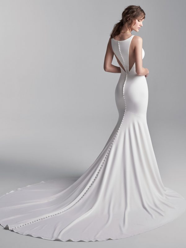 Simple Halter Back Mermaid Wedding Dress by Maggie Sottero - Image 2