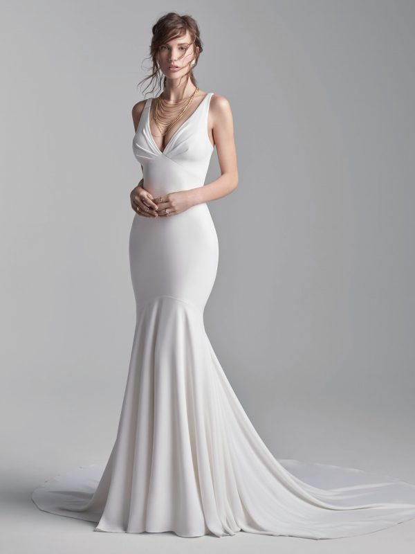 Simple Halter Back Mermaid Wedding Dress by Maggie Sottero - Image 1