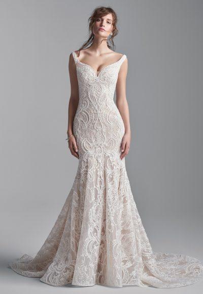 Sleeveless Beaded Lace Mermaid Wedding Dress by Sottero and Midgley