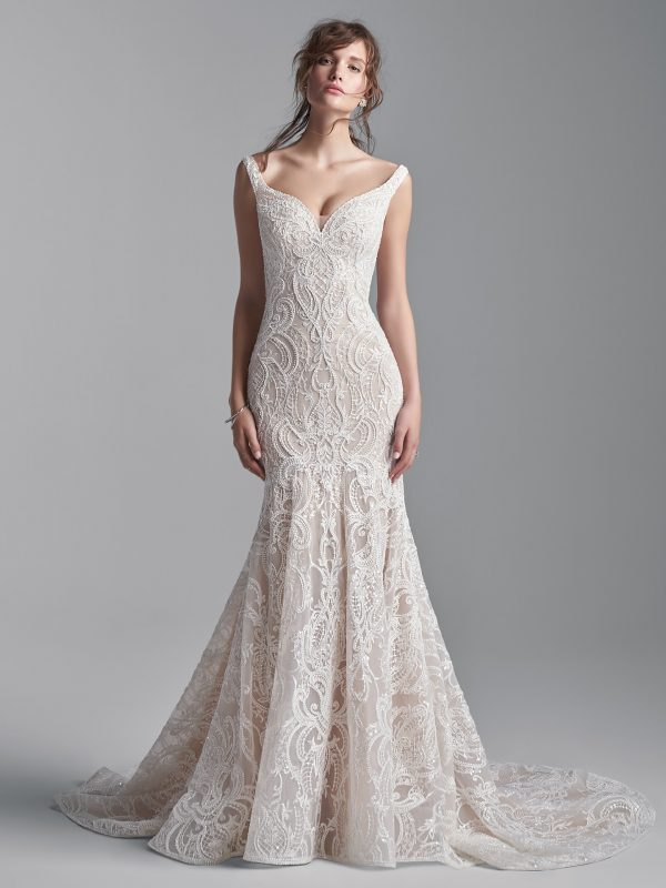 Sleeveless Beaded Lace Mermaid Wedding Dress by Maggie Sottero - Image 1