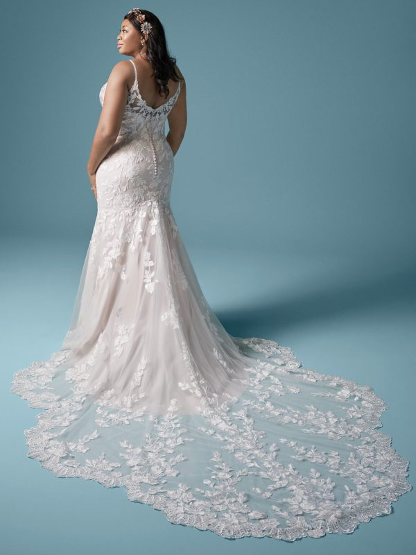 Spaghetti Strap Floral Lace Mermaid Wedding Dress by Maggie Sottero - Image 2