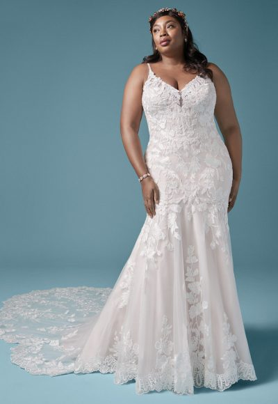 Spaghetti Strap Floral Lace Mermaid Wedding Dress by Maggie Sottero