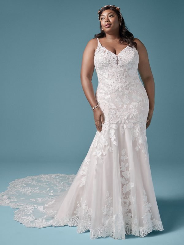 Spaghetti Strap Floral Lace Mermaid Wedding Dress by Maggie Sottero - Image 1