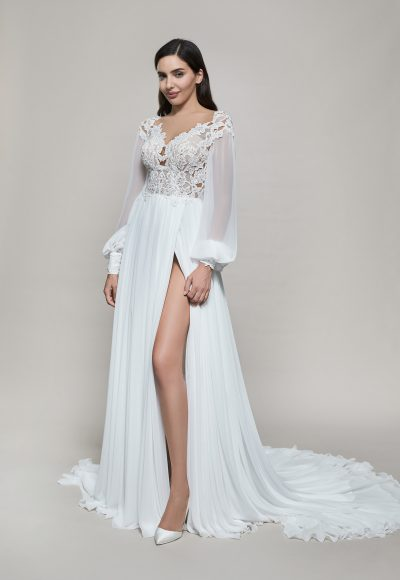 Long Sleeve V-neckline A-line Wedding Dress With Slit by Maison Signore