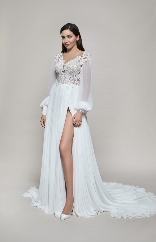 Long Sleeve V-neckline A-line Wedding Dress With Slit by Maison Signore - Image 1