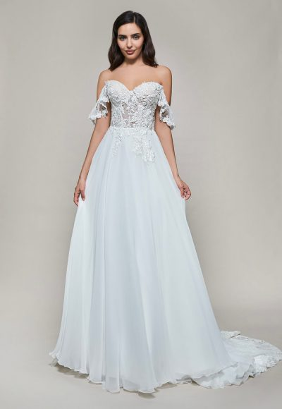 Off The Shoulder Sweetheart A-line Lace Wedding Dress by Maison Signore