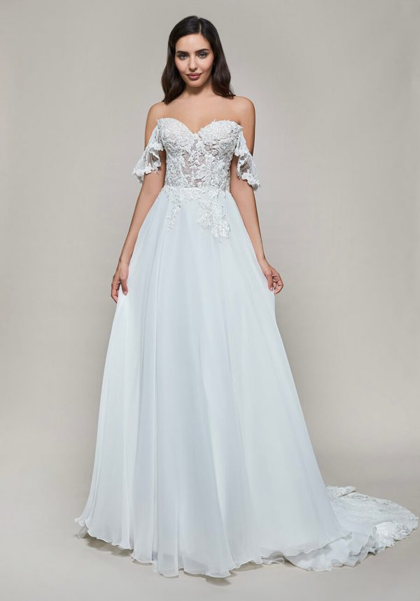 Off The Shoulder Sweetheart A-line Lace Wedding Dress by Maison Signore - Image 1