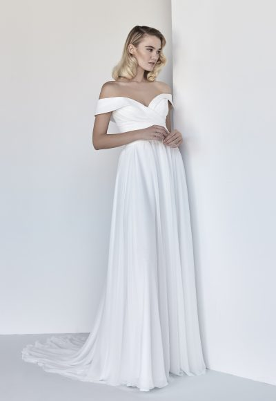 Simple A-line Wedding Dress With Draping by Maison Signore