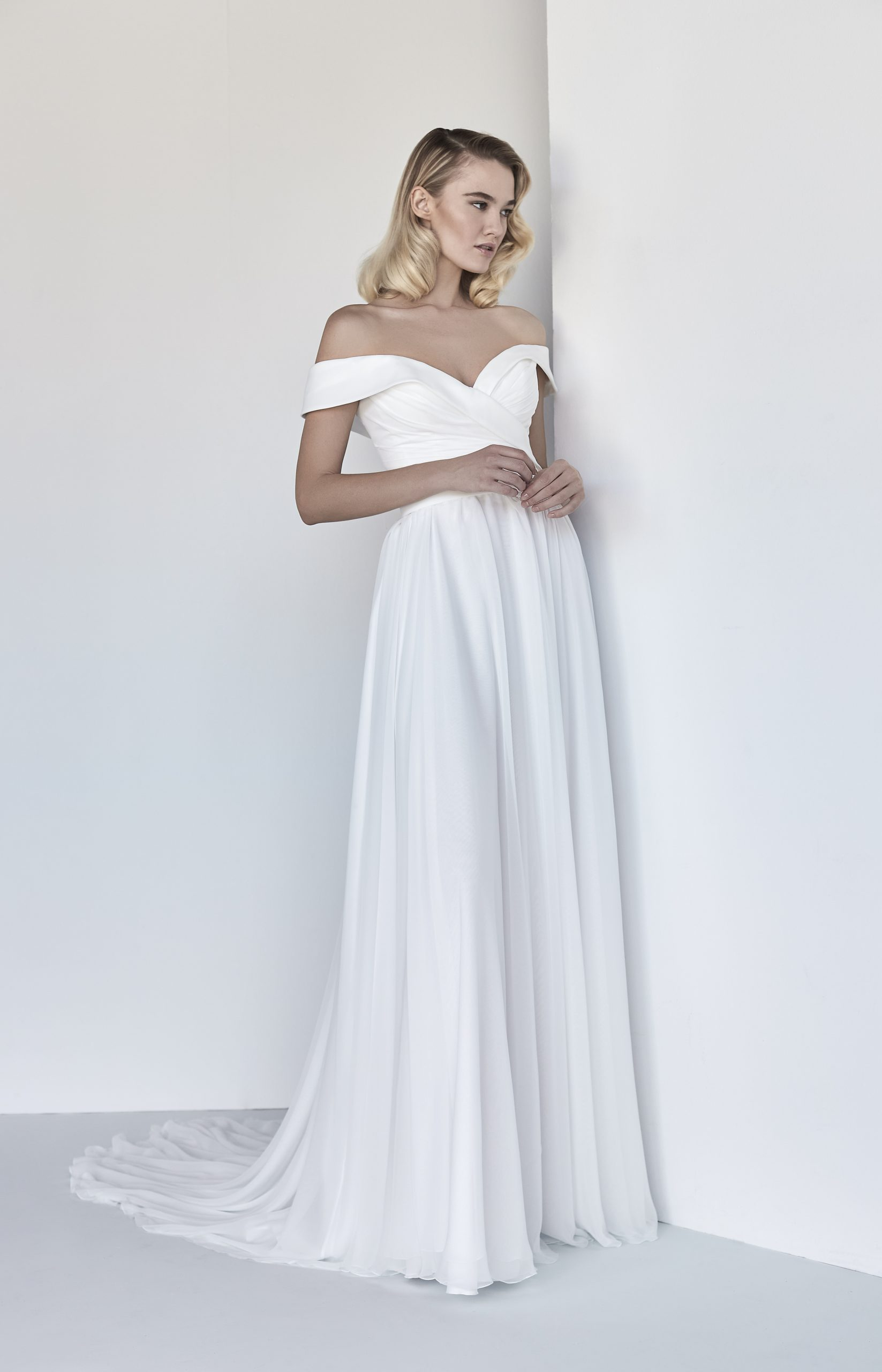 Simple A line Wedding Dress With Draping