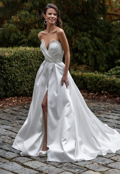 Simple Silk Mikado A-line Wedding Dress by Maison Signore