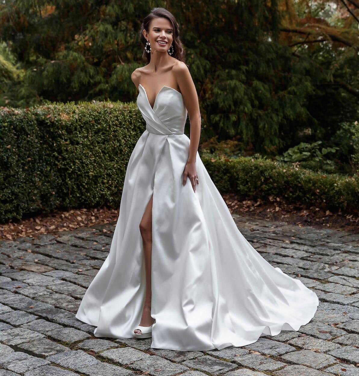 Simple Silk Mikado A line Wedding Dress