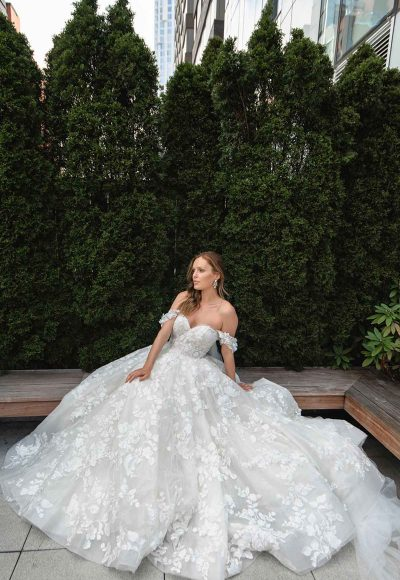 Off The Shoulder High Volume Ball Gown Wedding Dress by Martina Liana Luxe