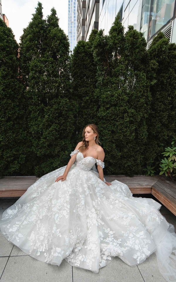 Off The Shoulder High Volume Ball Gown Wedding Dress by Martina Liana Luxe - Image 1