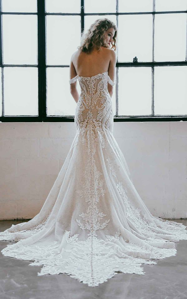 Off The Shoulder Lace Wedding Dress With Shaped Train by Martina Liana - Image 2