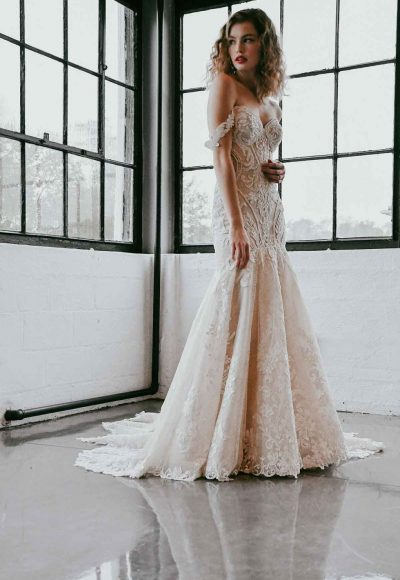 Off The Shoulder Lace Wedding Dress With Shaped Train by Martina Liana