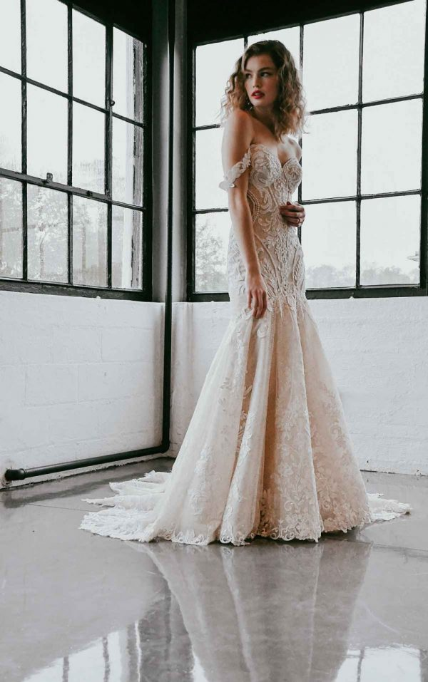 Off The Shoulder Lace Wedding Dress With Shaped Train by Martina Liana - Image 1