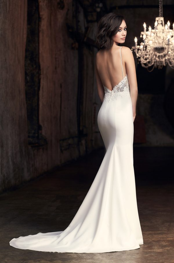 Spaghetti Strap Fit And Flare Wedding Dress With Slit by Mikaella - Image 2