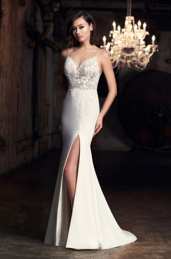Spaghetti Strap Fit And Flare Wedding Dress With Slit by Mikaella - Image 1