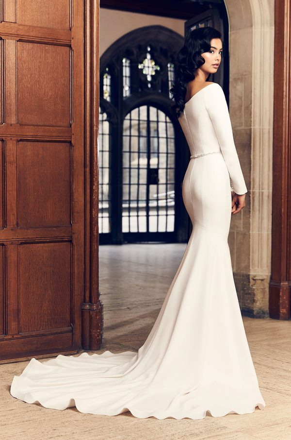 Simple Fit And Flare Long Sleeve Wedding Dress With Beaded Belt by Paloma Blanca - Image 2