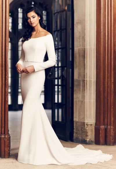 Simple Fit And Flare Long Sleeve Wedding Dress With Beaded Belt by Paloma Blanca