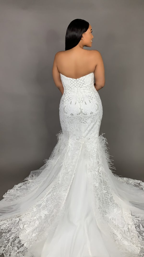 Plus Size Strapless Sweetheart Neckline Mermaid Wedding Dress With Feathers And Beaded Lace by Pantora Bridal - Image 2