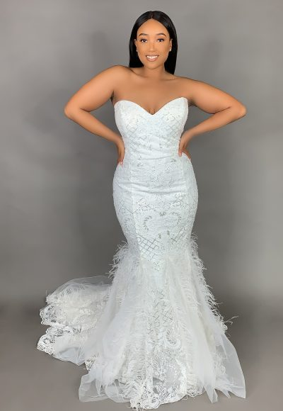 Plus Size Strapless Sweetheart Neckline Mermaid Wedding Dress With Feathers And Beaded Lace by Pantora Bridal