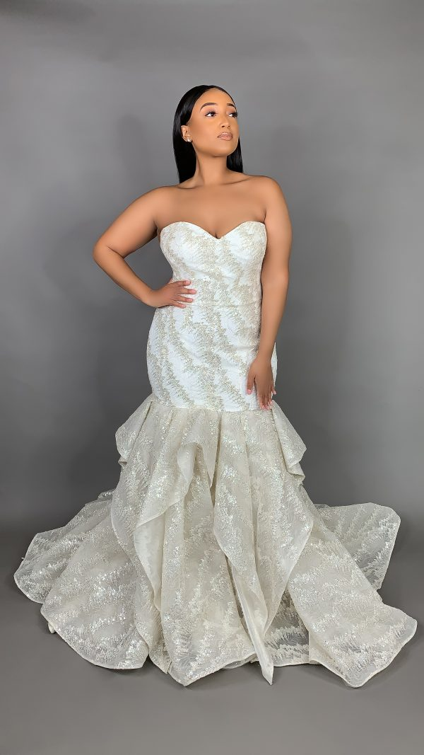 Plus Size Strapless Sweetheart Neckline Metallic Mermaid Wedding Dress by Pantora Bridal - Image 2