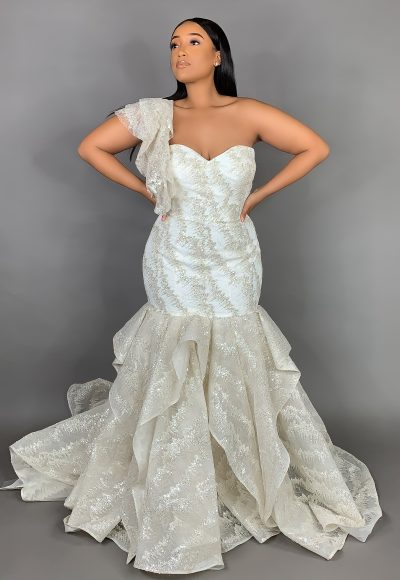 Plus Size Strapless Sweetheart Neckline Metallic Mermaid Wedding Dress by Pantora Bridal