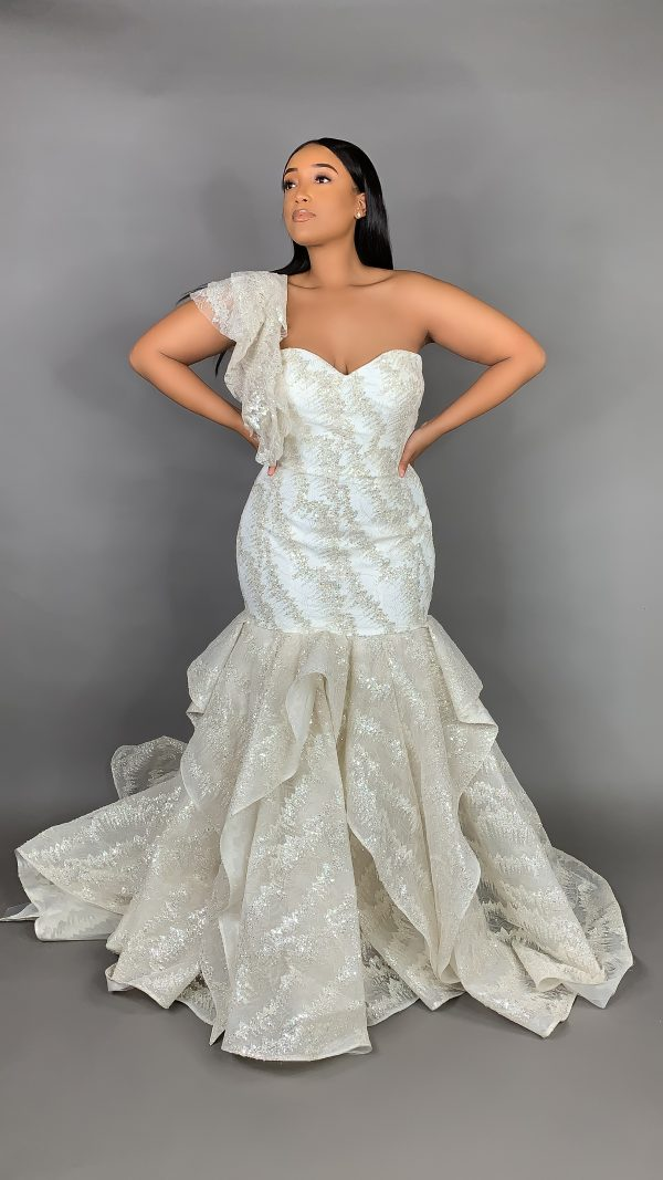 Plus Size Strapless Sweetheart Neckline Metallic Mermaid Wedding Dress by Pantora Bridal - Image 1