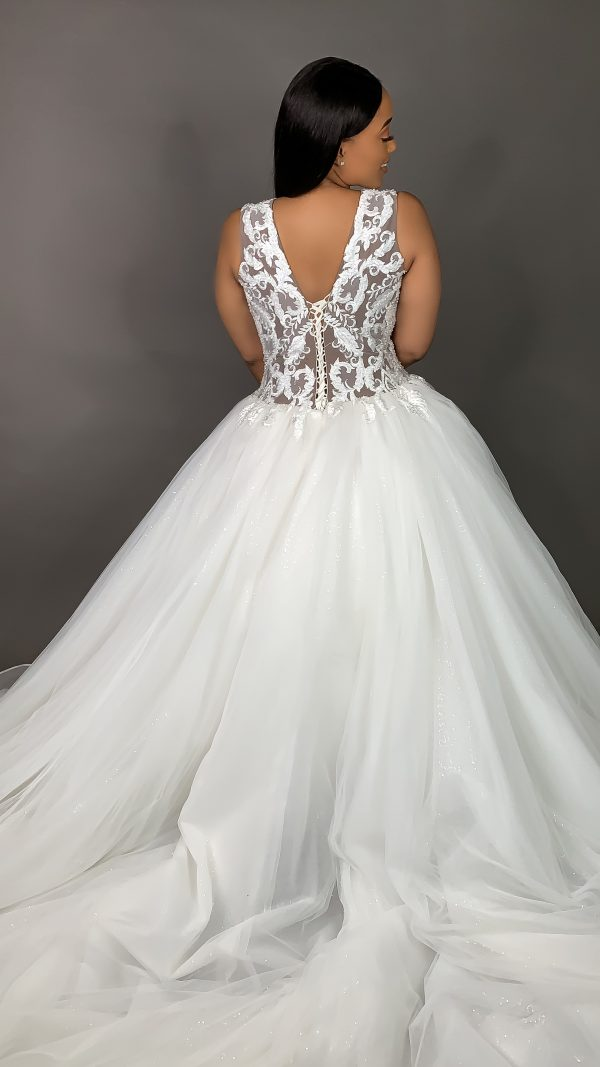 Sleeveless V Neck Beaded Lace Ball Gown Wedding Dress With Tulle Skirt by Pantora Bridal - Image 2