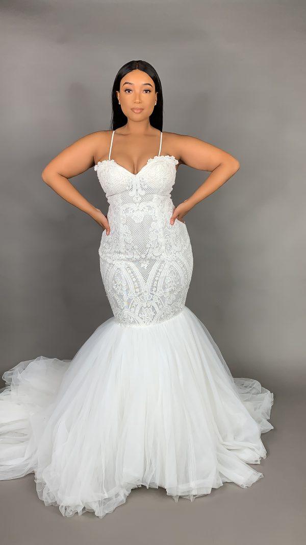 Spaghetti Strap Lace Mermaid Wedding Dress by Pantora Bridal - Image 2