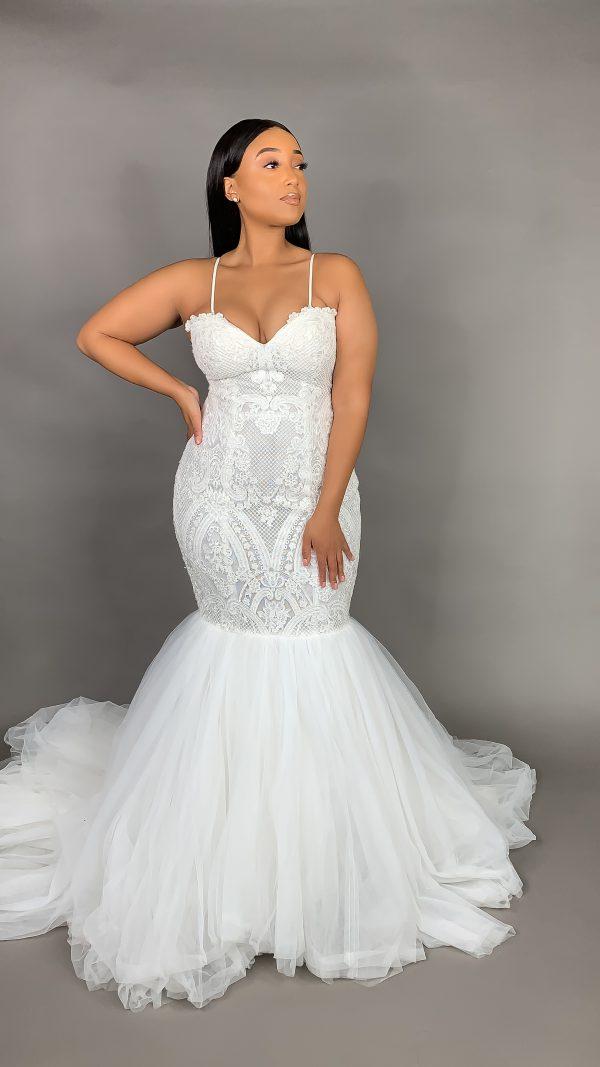 Spaghetti Strap Lace Mermaid Wedding Dress by Pantora Bridal - Image 1
