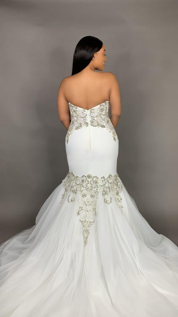 Strapless Deep V Neckline Mermaid Crepe Wedding Dress With Beading by Pantora Bridal - Image 2