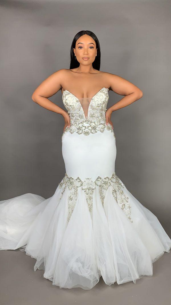Strapless Deep V Neckline Mermaid Crepe Wedding Dress With Beading by Pantora Bridal - Image 1