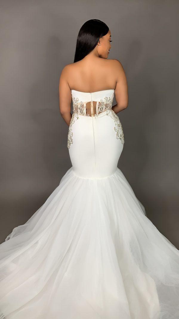 Strapless Plunging Sweetheart Neckline Mermaid Wedding Dress by Pantora Bridal - Image 2