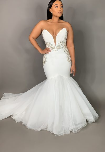 Strapless Plunging Sweetheart Neckline Mermaid Wedding Dress by Pantora Bridal