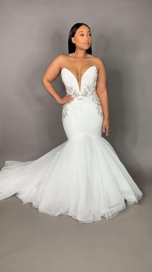 Strapless Plunging Sweetheart Neckline Mermaid Wedding Dress by Pantora Bridal - Image 1