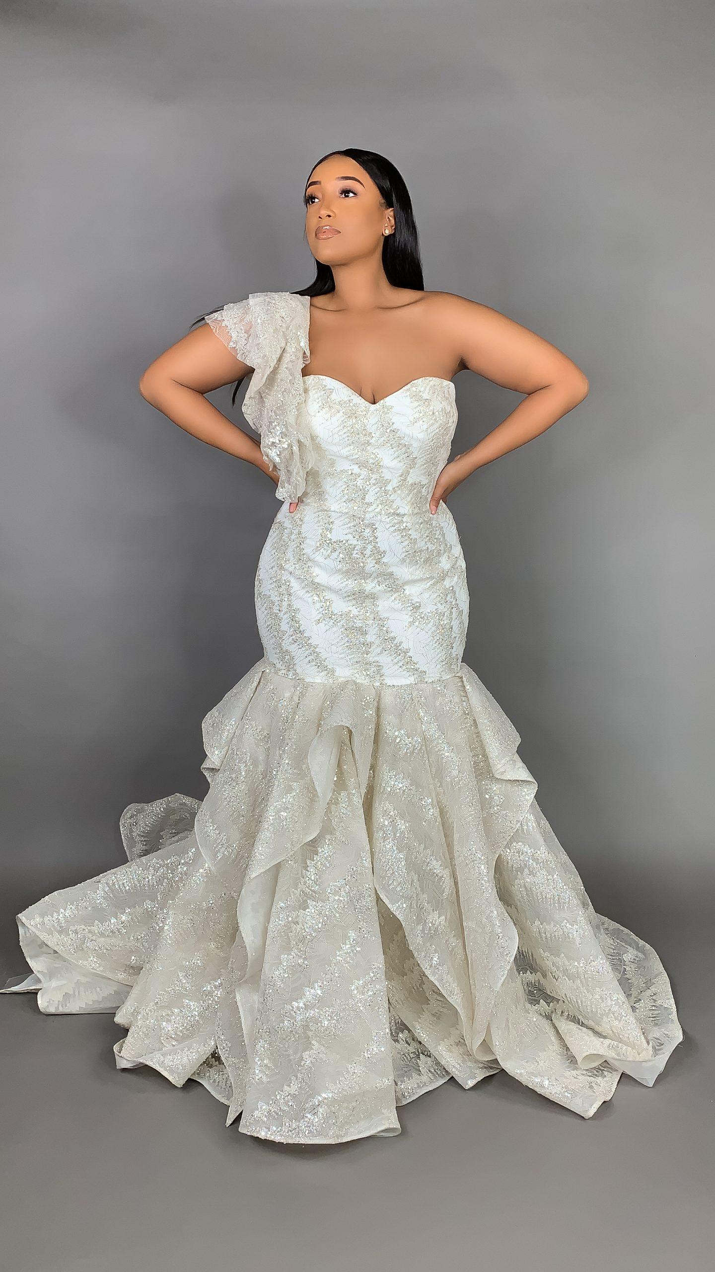 Strapless Sweetheart Neckline Metallic Mermaid Wedding Dress Kleinfeld Bridal